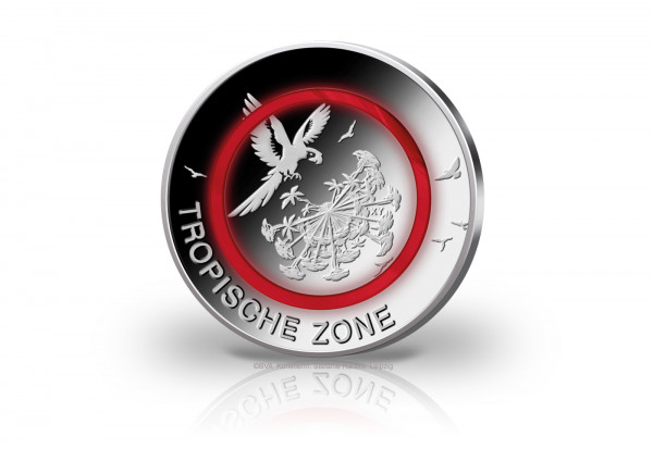 5 Euro 2017 Deutschland Tropische Zone mit rotem Polymerring st Prägestätte G