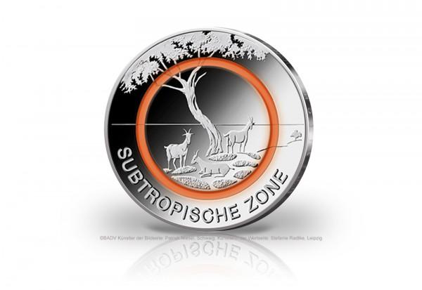 5 Euro 2018 Deutschland Subtropische Zone mit orangem Polymerring st Prägestätte unserer Wahl