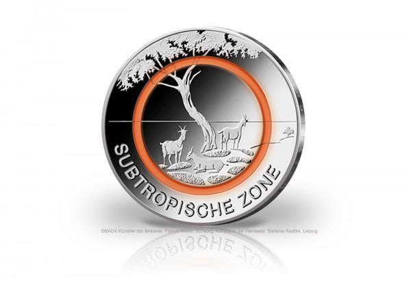 5 Euro 2018 Deutschland Subtropische Zone mit orangem Polymerring st Prägestätte D