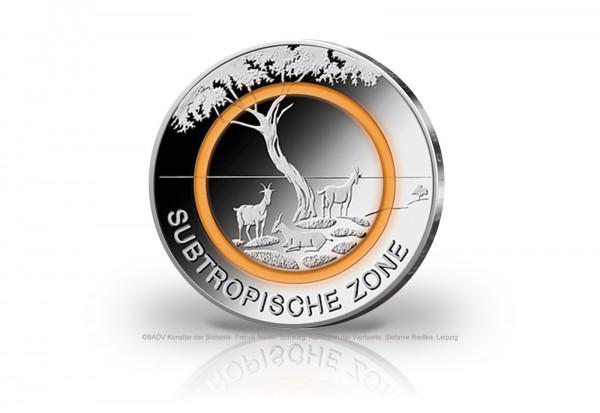 5 Euro 2018 Deutschland Subtropische Zone mit orangem Polymerring st Prägestätte G