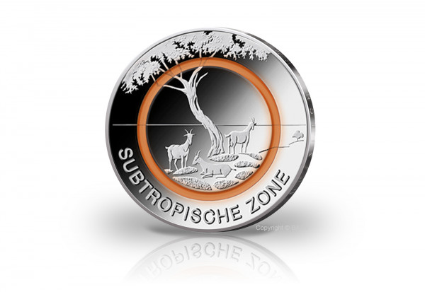 5 Euro 2018 Deutschland Subtropische Zone mit Polymerring st Prägestätte J