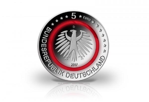 5 Euro 2017 Deutschland Tropische Zone mit rotem Polymerring PP Prägestätte D