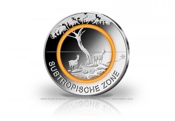 5 Euro 2018 Deutschland Subtropische Zone mit Polymerring PP Prägestätte F