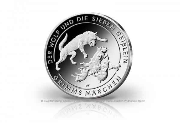 20 Euro Silbermünze 2020 Deutschland Der Wolf und die Sieben Geißlein PP