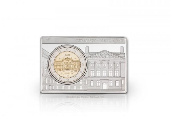 2 Euro 2019 Deutschland 70 Jahre Bundesrat eingefasst in einem Barren Prägestätte D