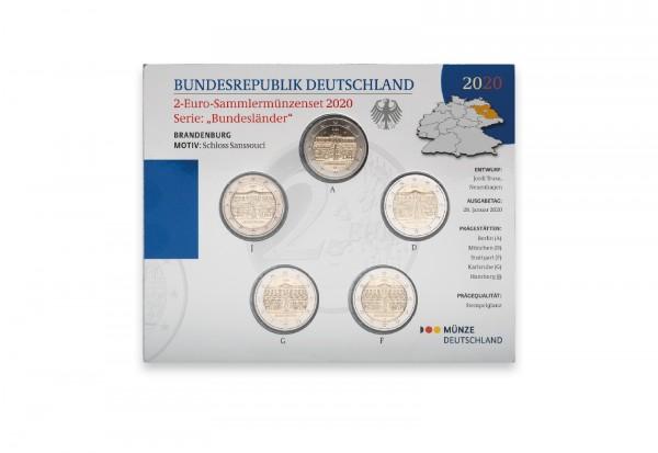 2 Euro 2020 Deutschland Brandenburg Schloss Sanssouci Prägestätte A-J st im Blister