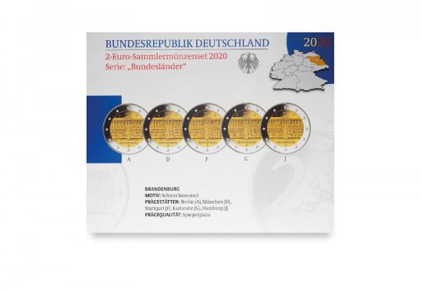2 Euro 2020 Deutschland Brandenburg Schloss Sanssouci Prägestätte A-J PP im Blister