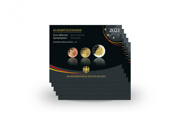 Kursmünzensatz 2021 Deutschland PP Prägestätte A-J im Blister inkl. 2 Euro Magdeburger Dom