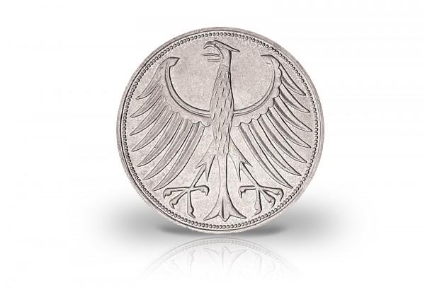 5 DM Silbermünze 1958 BRD Silberadler Prägestätte J Jaeger-Nr. 387