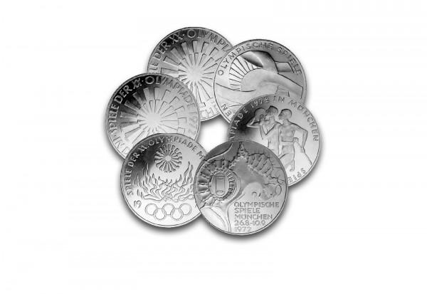 10 DM Silbermünzen 1972 BRD Olympische Spiele München 6er Set
