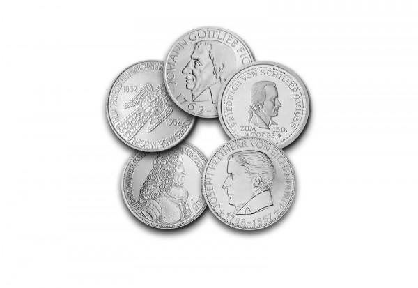 5 DM Silbermünzen 1952-1964 BRD Die Ersten Fünf