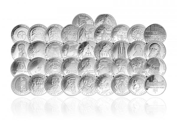 5 DM Silbermünzen 1966-1986 BRD Komplettsammlung ohne Erste Fünf
