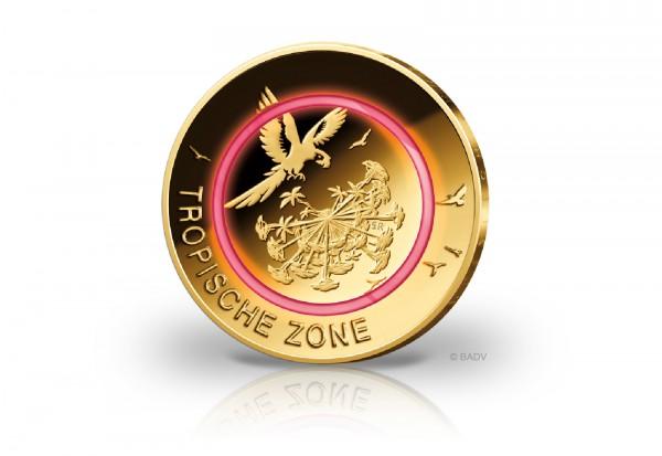 5 Euro 2017 Deutschland Tropische Zone mit 24 Karat Goldauflage
