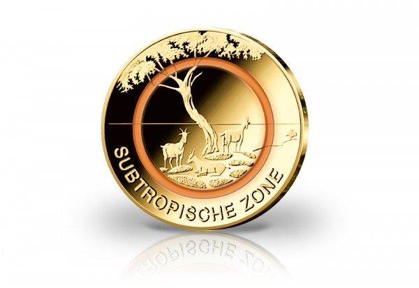 5 Euro 2018 Deutschland Subtropische Zone mit 24 Karat Goldauflage Prägestätte A