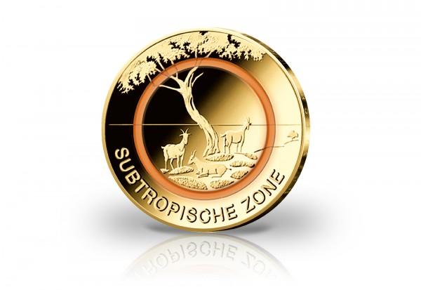 5 Euro 2018 Deutschland Subtropische Zone mit 24 Karat Goldauflage Prägestätte J