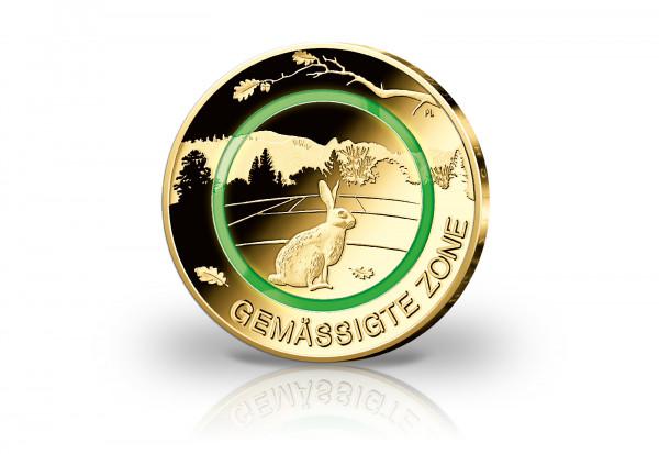 5 Euro 2019 Deutschland Gemässigte Zone mit 24 Karat Goldauflage
