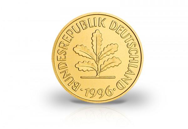 5 Pfennig Jahrgang unserer Wahl BRD mit 24 Karat Gold