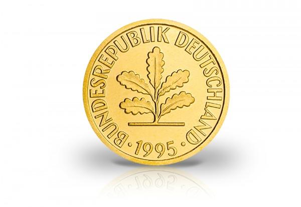 BRD 2 Pfennig mit 24kt Goldauflage