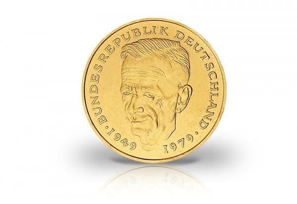2 DM Jahrgang unserer Wahl BRD Kurt Schumacher mit 24 Karat Goldauflage