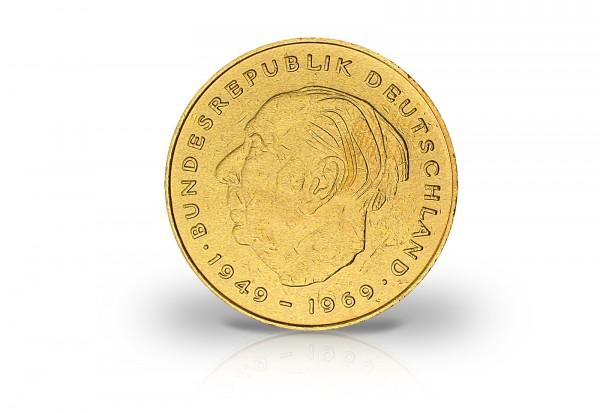 2 DM 1949-1969 BRD Theodor Heuss mit 24 Karat Goldauflage
