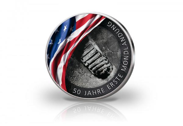 2 Euro mit Farbmotiv 50 Jahre Mondlandung Schuhabdruck
