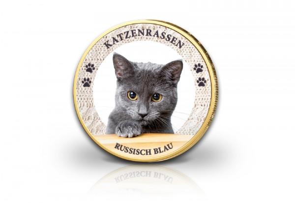 2 Euro Katze Russisch Blau mit Kaltemaille und 24 Karat Goldauflage