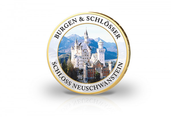 2 Euro Burgen und Schlösser Schloss Neuschwanstein mit Kaltemaille und 24 Karat Goldauflage