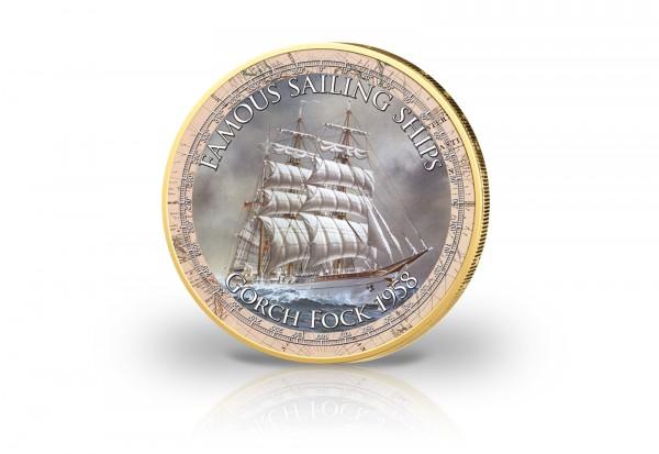 2 Euro Gorch Fock mit Kaltemaille und 24 Karat Goldauflage