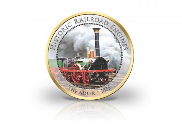2 Euro Eisenbahn Der Adler 1835 mit Kaltemaille und 24 Karat Goldauflage