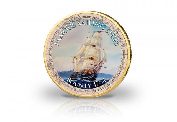 2 Euro Segelschiff Bounty mit Kaltemaille und 24 Karat Goldauflage
