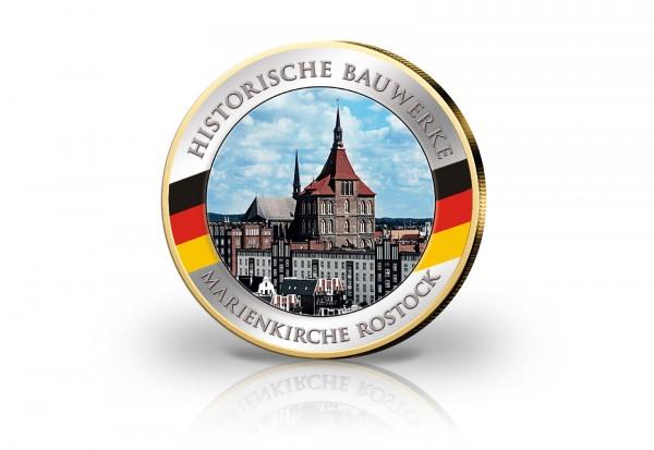 2 Euro Marienkirche Rostock mit Kaltemaille und 24 Karat Goldauflage