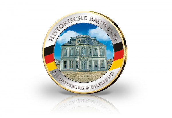 2 Euro Schloss Augustusburg und Falkenlust veredelt mit 24 Karat Goldauflage