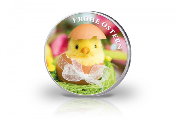 2 Euro mit Farbmotiv Ostern Küken