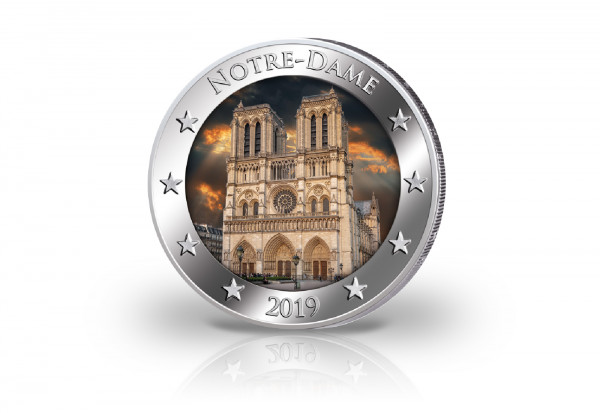 2 Euro mit Farbmotiv Notre Dame