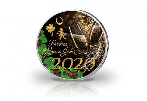 2 Euro mit Farbmotiv Frohes Neues Jahr 2020