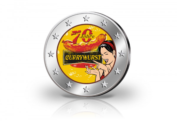 2 Euro mit Farbmotiv 70 Jahre Currywurst