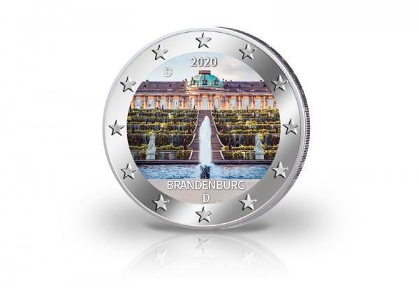 2 Euro 2020 Deutschland Brandenburg Schloss Sanssouci Prägestätte unserer Wahl mit Farbmotiv