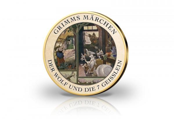 2 Euro mit Farbmotiv Der Wolf und die sieben Geißlein und 24 Karat Goldauflage