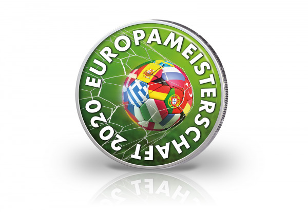 2 Euro mit Farbmotiv Fußball Europameisterschaft 2020