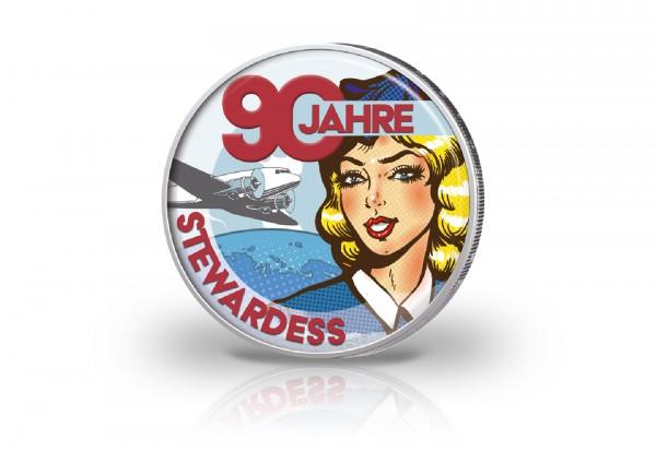 2 Euro mit Farbmotiv 90 Jahre Stewardess