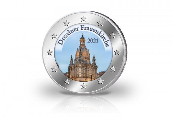 Dresdner Frauenkirche 2021 mit Farbmotiv