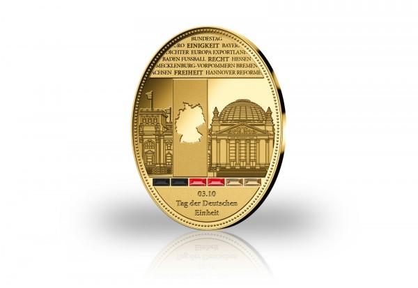 Gigantenprägung Tag der Deutschen Einheit veredelt mit 24 Karat Goldauflage