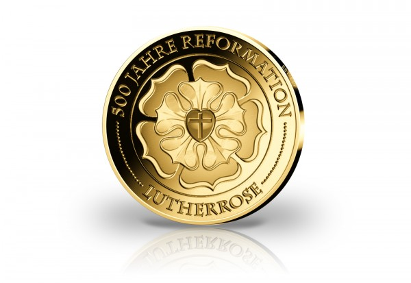 Goldausgabe 1 oz 500 Jahre Reformation Lutherrose im Etui