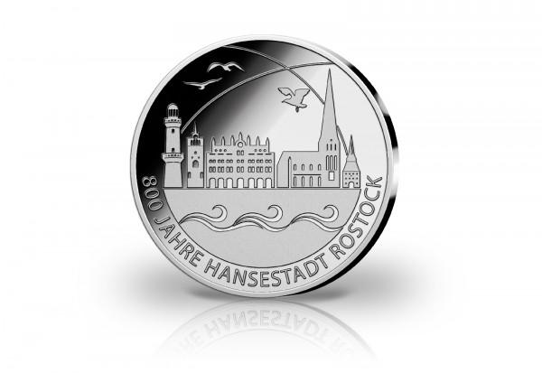 Gedenkprägung 800 Jahre Hansestadt Rostock 2018 mit Silberauflage