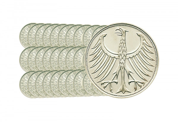 5 DM Silbermünzen 1951-1974 BRD ohne 1958 72er Set