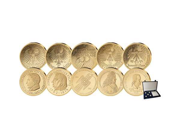 Die Ersten Fünf Neuprägungen in Gold mit Etui