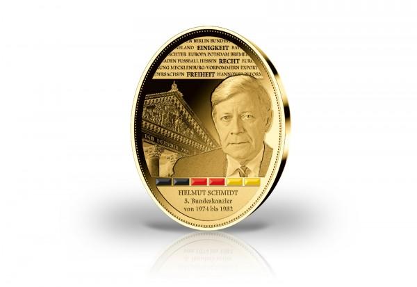 Gigantenprägung Helmut Schmidt veredelt mit 24 Karat Goldauflage