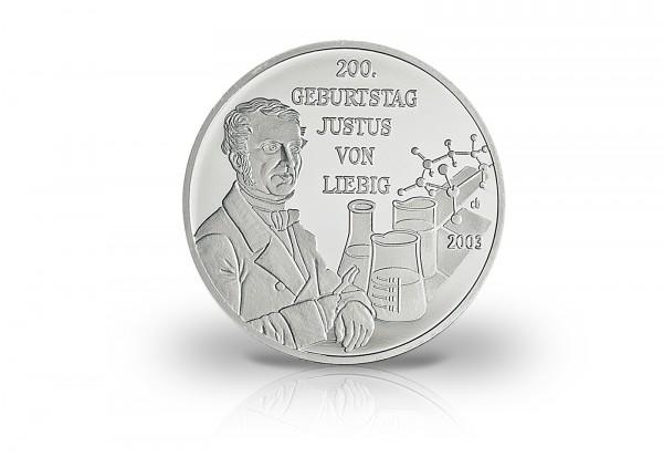 Neuprägung Justus von Liebig mit Silberauflage