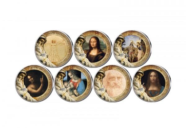 500. Todestag von Leonardo da Vinci 7er Kollektion mit Farbmotiv im Etui inkl. Zertifikat