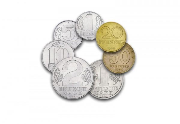 Komplettsatz 1 Pfennig - 2 Mark Jahrgang und Prägestätte unserer Wahl DDR